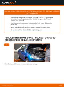How to carry out replacement: Brake Discs on 1.6 16V Peugeot 206 cc 2d