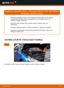Kaip atlikti keitimą: 1.6 16V Peugeot 206 cc 2d Stabdžių diskas