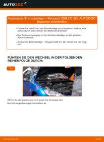 Wie der Wechsel durchführt wird: Bremsbeläge 1.6 16V Peugeot 206 CC tauschen