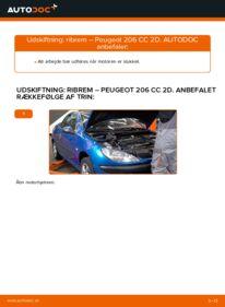 Hvordan man udfører udskiftning af: Kileribberem på 1.6 16V Peugeot 206 cc 2d