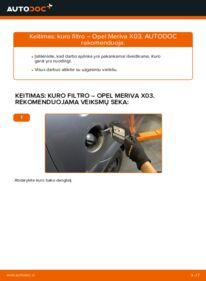 Kaip atlikti keitimą: 1.7 CDTI (E75) Opel Meriva x03 Kuro filtras
