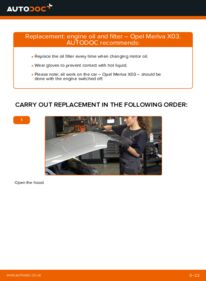 How to carry out replacement: Oil Filter on 1.7 CDTI (E75) Opel Meriva x03