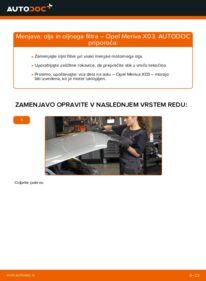 Kako izvesti menjavo: Oljni filter na 1.7 CDTI (E75) Opel Meriva x03