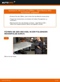 Wie der Wechsel durchführt wird: Ölfilter Opel Meriva x03 1.7 CDTI (E75) 1.6 16V (E75) 1.4 16V Twinport (E75) tauschen