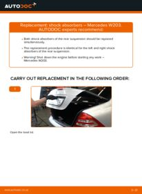 How to carry out replacement: Shock Absorber on C 220 CDI 2.2 (203.006) Mercedes W203