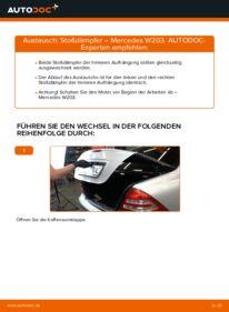 Wie der Wechsel durchführt wird: Stoßdämpfer Mercedes W203 C 220 CDI 2.2 (203.006) C 180 1.8 Kompressor (203.046) C 220 CDI 2.2 (203.008) tauschen