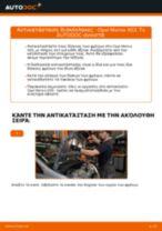 Πώς να αλλάξετε δισκόπλακες εμπρός σε Opel Meriva X03 - Οδηγίες αντικατάστασης