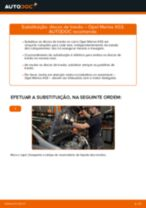 Como mudar discos de travão da parte dianteira em Opel Meriva X03 - guia de substituição