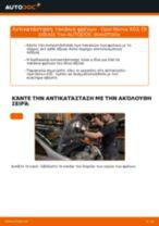 Πώς να αλλάξετε τακάκια φρένων εμπρός σε Opel Meriva X03 - Οδηγίες αντικατάστασης