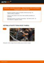 Kaip pakeisti Opel Meriva X03 stabdžių trinkeliu: priekis - keitimo instrukcija