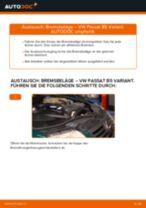 VW Bremsbelagsatz hinten + vorne selber auswechseln - Online-Anleitung PDF