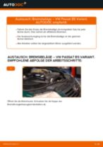 Wechseln von Scheibenbremsbeläge VW PASSAT: PDF kostenlos