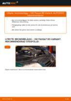 Hur byter man och justera Bromsklossar VW PASSAT: pdf instruktioner