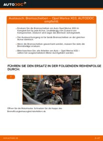 Wie der Wechsel durchführt wird: Bremsscheiben Opel Meriva x03 1.7 CDTI (E75) 1.6 16V (E75) 1.4 16V Twinport (E75) tauschen