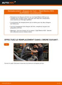 Comment effectuer un remplacement de Disques De Frein sur 1.7 CDTI (E75) Opel Meriva x03
