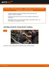 Kaip atlikti keitimą: 1.7 CDTI (E75) Opel Meriva x03 Stabdžių Kaladėlės