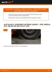 Wie der Wechsel durchführt wird: Querlenker 1.7 CDTI (E75) Opel Meriva x03 tauschen
