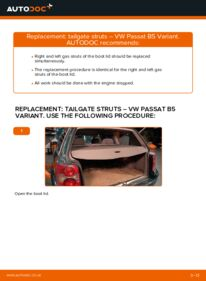 How to carry out replacement: Tailgate Struts on 1.9 TDI Passat 3B6