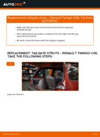 How to carry out replacement: Tailgate Struts on 1.2 Twingo c06