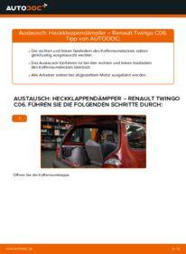 Wie der Wechsel durchführt wird: Heckklappendämpfer 1.2 Renault Twingo Mk1 tauschen