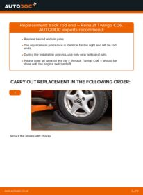 How to carry out replacement: Track Rod End on 1.2 Twingo c06