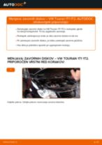 Kako zamenjati in prilagoditi Zavorni kolut VW TOURAN: vodnik pdf