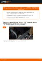 Kako zamenjati avtodel zavorne ploščice zadaj na avtu VW Touran 1T1 1T2 – vodnik menjave
