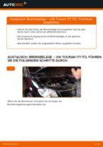 Wie Bremsklötze VW TOURAN austauschen und anpassen: PDF-Anweisung