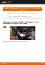 Kako zamenjati avtodel zavorne klešče zadaj na avtu VW Touran 1T1 1T2 – vodnik menjave