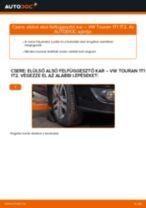 Elülső alsó felfüggesztő kar-csere VW Touran 1T1 1T2 gépkocsin – Útmutató