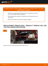 How to carry out replacement: Brake Pads on 1.2 Twingo c06