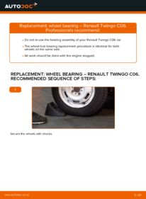 How to carry out replacement: Wheel Bearing on 1.2 Twingo c06