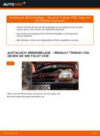 Wie der Wechsel durchführt wird: Bremsbeläge Twingo c06 1.2 1.2 16V 1.0 tauschen