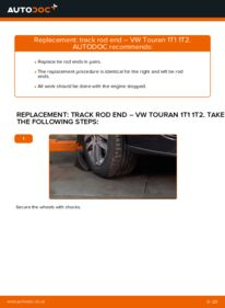 How to carry out replacement: Track Rod End on 1.9 TDI Touran 1t1 1t2