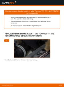 How to carry out replacement: Brake Pads on 1.9 TDI Touran 1t1 1t2