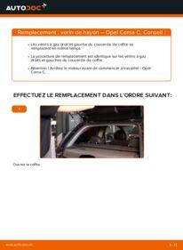 Comment effectuer un remplacement de Verin De Hayon sur 1.2 (F08, F68) Opel Corsa C