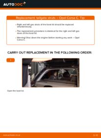 How to carry out replacement: Tailgate Struts on 1.2 (F08, F68) Opel Corsa C