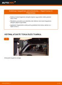 Kaip atlikti keitimą: 1.2 (F08, F68) Opel Corsa C Bagazines Amortizatorius