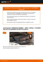 Schritt-für-Schritt-PDF-Tutorial zum Bremsscheiben-Austausch beim OPEL CORSA C (F08, F68)