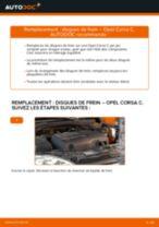 Comment changer : disques de frein avant sur Opel Corsa C - Guide de remplacement
