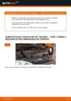 Como mudar pastilhas de travão da parte dianteira em Opel Corsa C - guia de substituição