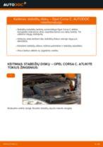 Kaip pakeisti Opel Corsa C stabdžių diskų: priekis - keitimo instrukcija