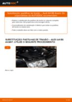 Como mudar pastilhas de travão da parte traseira em Audi A4 B6 Avant - guia de substituição
