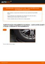 Como mudar rolamento da roda da parte traseira em Audi A4 B6 Avant - guia de substituição