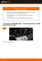AUDI Bremsbelagsatz hinten + vorne selber austauschen - Online-Bedienungsanleitung PDF