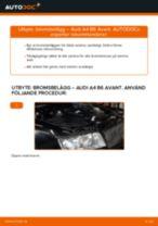 Hur byter man och justera Bromsklossar AUDI A4: pdf instruktioner