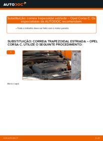 Como realizar a substituição de Correia Trapezoidal Estriada no 1.2 (F08, F68) Opel Corsa C