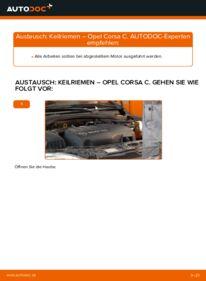 Wie der Wechsel durchführt wird: Keilrippenriemen 1.2 (F08, F68) Opel Corsa C tauschen