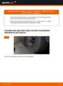 Wie der Wechsel durchführt wird: Querlenker 1.2 (F08, F68) Opel Corsa C tauschen