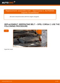 How to carry out replacement: Poly V-Belt on 1.2 (F08, F68) Opel Corsa C